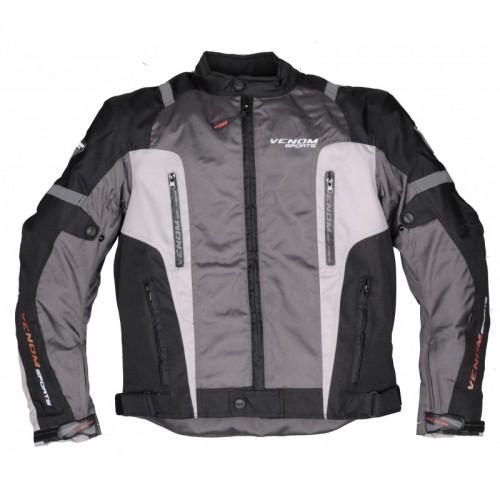Venom Air Racing Siyah-Gri Motosiklet Ceketi