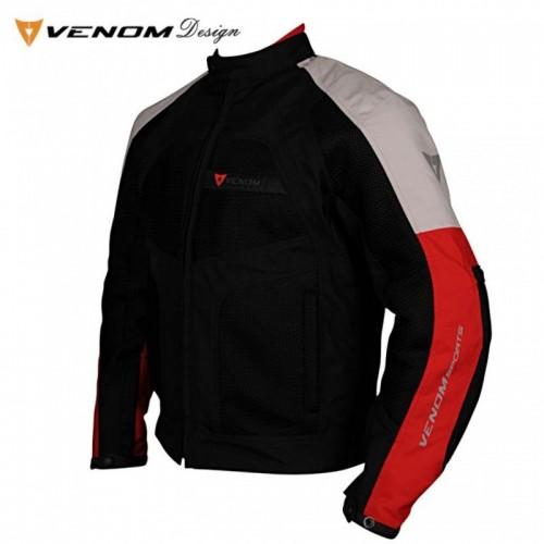 Venom Dynamic Gümüş-Kırmızı Bayan Motosiklet Ceketi