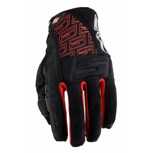 FIVE GLOVES ENDURO QUAD SUMMER BLACK-RED MOTOSİKLET ELDİVENİ