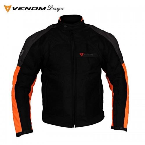 Venom Dynamic Fileli Gri-Turuncu Lady Motosiklet Ceketi