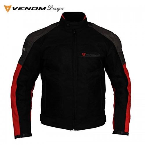 Venom Dynamic Gri-Kırmızı Bayan Motosiklet Ceketi
