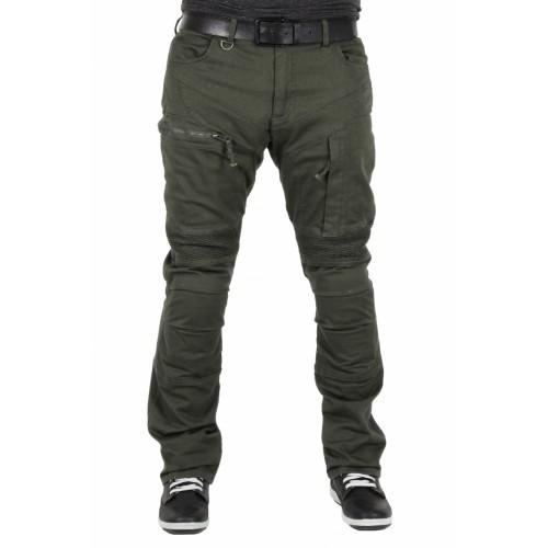 TECH90 Kevlar Kot Madra Haki Yeşil Kanvas Korumalı Motosiklet Pantolonu