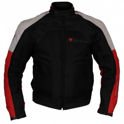 Venom Dynamic Fileli Beyaz-Kırmızı Motosiklet Montu