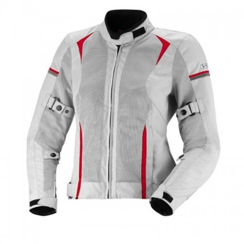 IXS Alva Gri Kırmızı Bayan Motosiklet Ceketi