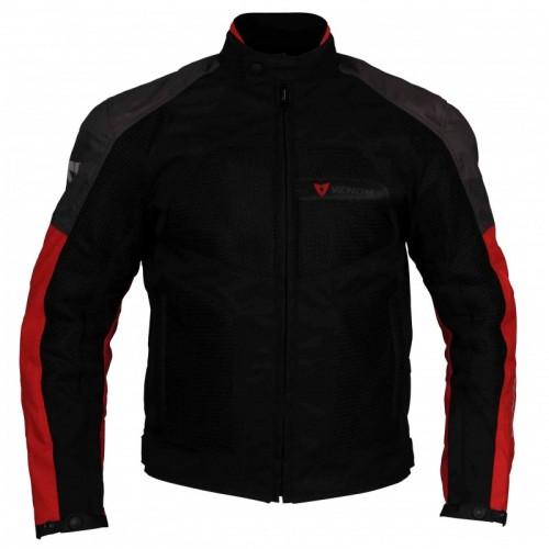 Venom Dynamic Fileli Siyah-Kırmızı Motosiklet Montu