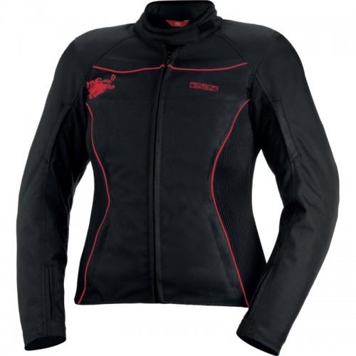 IXS Eveline Siyah-Kırmızı Bayan Motosiklet Ceketi