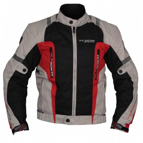 Venom Air Racing Gri-Kırmızı Motosiklet Ceketi
